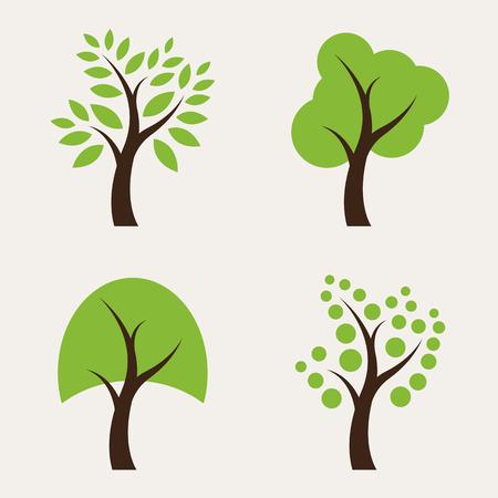 Set of tree icons on white background