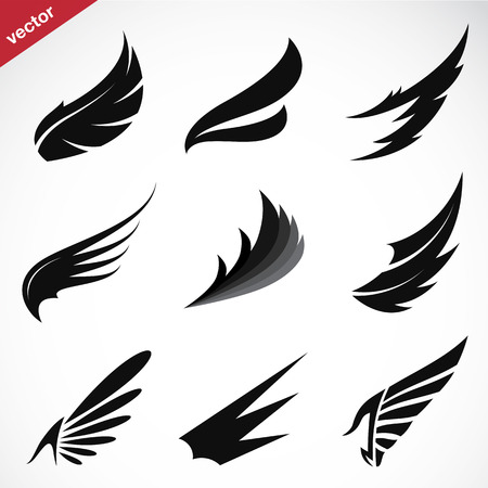 eagle feather: Vector black wing icons set on white background