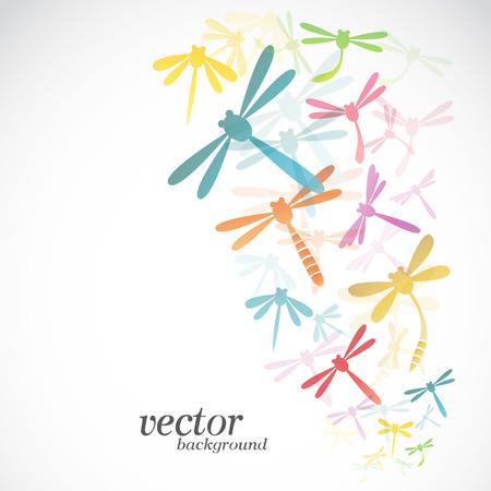 mouche: Conception de libellule sur fond blanc - illustration vectorielle
