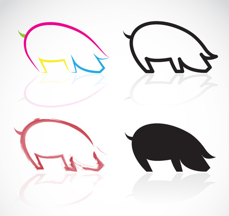 bacon art: Vector image of an pigs on white background