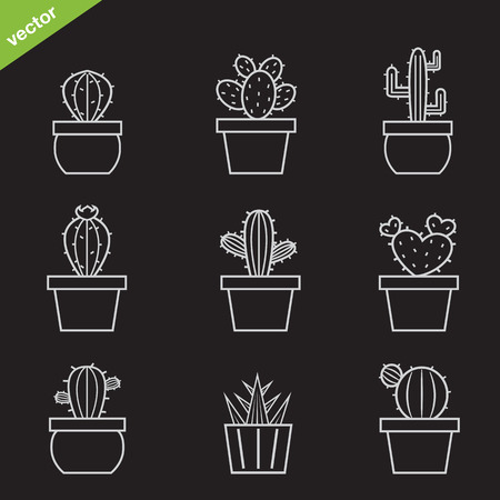 potted plant cactus: Set of vector cactus icons on black background Illustration