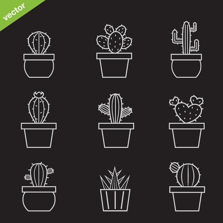 Set von Vektor-Kaktus-Icons auf schwarzem Hintergrund Standard-Bild - 27802401