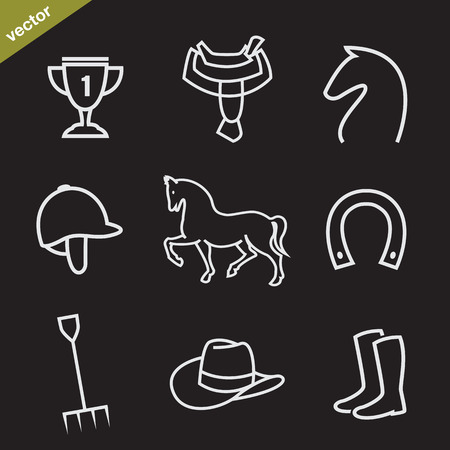 Set of vector horse equipment icons on black background Vector