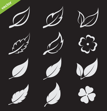 Vector leaves icon set on black background Vector