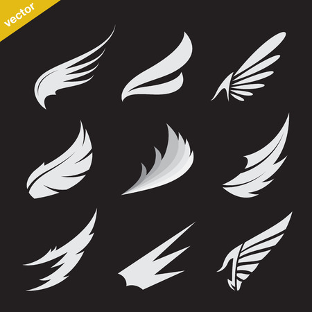 Vector white wing icons set on black background