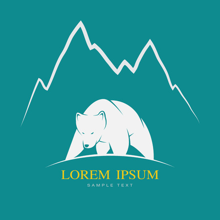 mountain cartoon: Vector image of a white bear on blue background Illustration