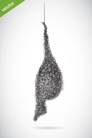 Vector image of an bird s nest on white background Illustration
