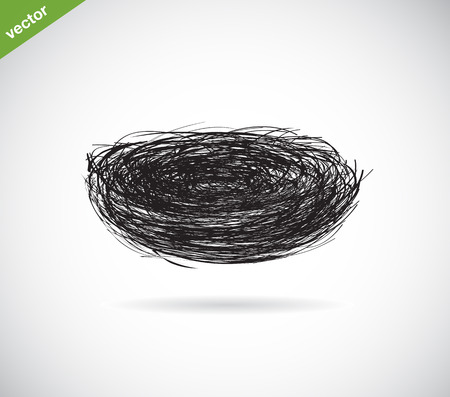 birds: Vector image of an bird s nest on white background Illustration