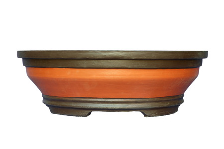Empty flower pot isolated on white background photo