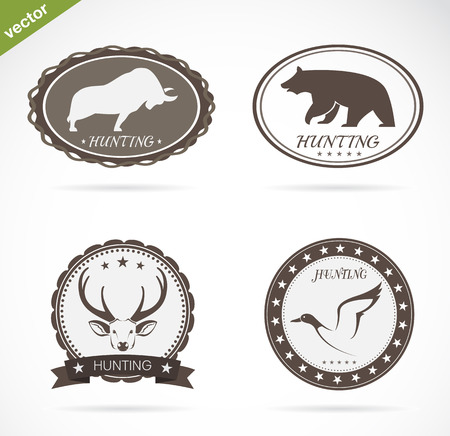 Hunting labels set on a white background Vector