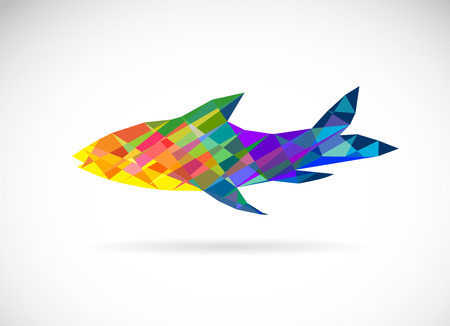 Vector image of an fish polygonal on white background Vector