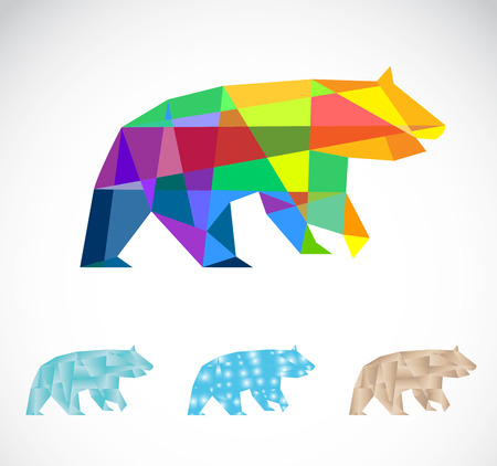 Vector image of an bear polygonal on white background  Vector