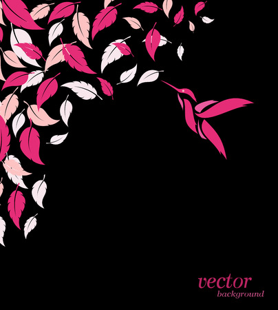 Abstract pink leaf and hummingbirds background with place for your text. Vector