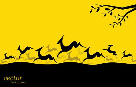 pintura rupestre: Silueta de una manada de ciervos en fondo amarillo. Vectores