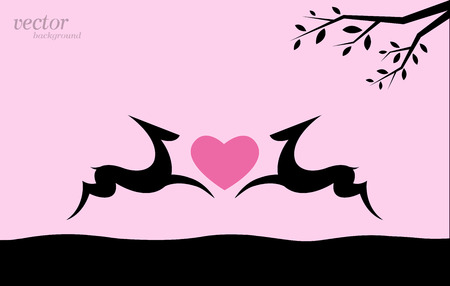 Vector image of deer and heart on pink background. Vector