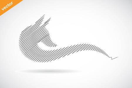 black fox: Vector design of fox on white background Illustration