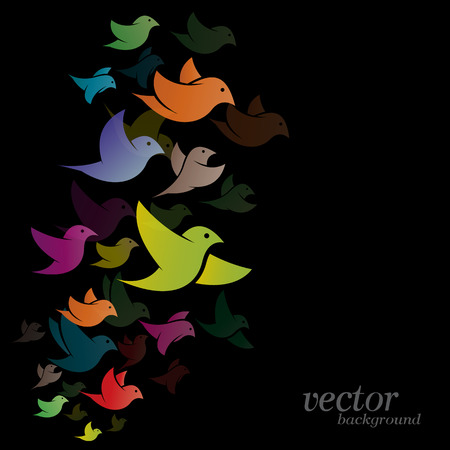 Bird design on black background -  Vector Illustration Vector