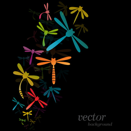 Dragonfly design on black background - Vector Illustration Illustration