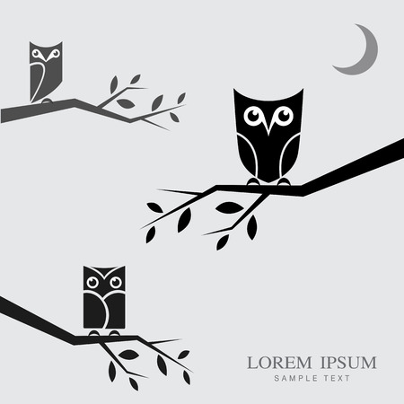 Vector image of an owls perched on branches with place for your text. Vector