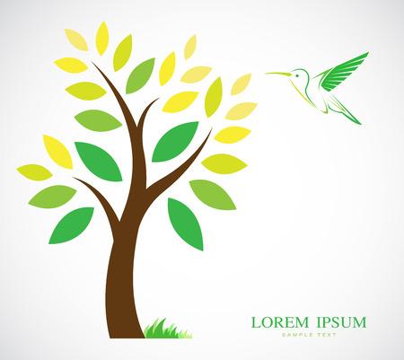 hummingbird: Vector design of trees and hummingbird on white background Illustration