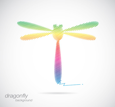 dragonfly wing: Vector design of dragonfly on white background Illustration