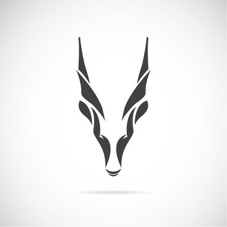 cabra: imagen de una cabeza de cabra Goral en el fondo blanco