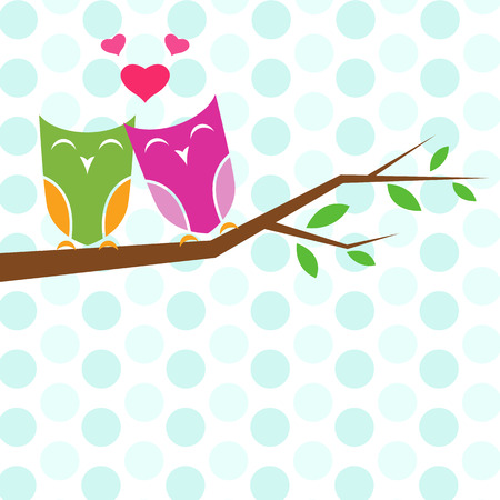 Vector backgrounds with couple of owls on the branch   Vector