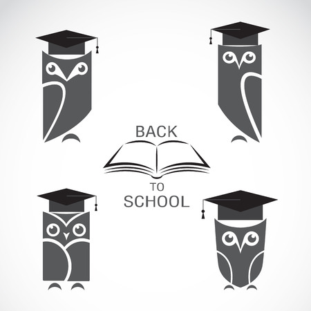 master page: Vector image of an owl with college hat and book isolated on white background