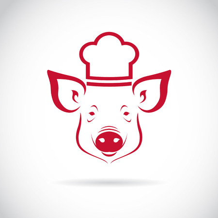 roast dinner: image of an Pig chef  on white background