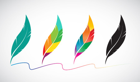 Vector group of feather on white background Vector