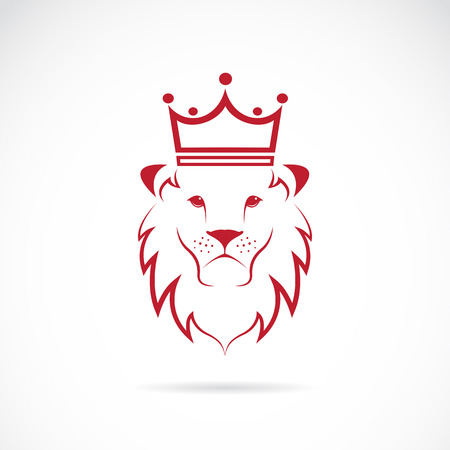 royal safari: lion crowned on white background