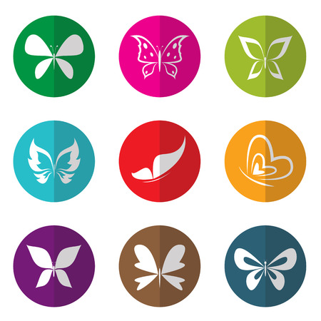 wellness icon: Vector group of butterfly in the circle on white background