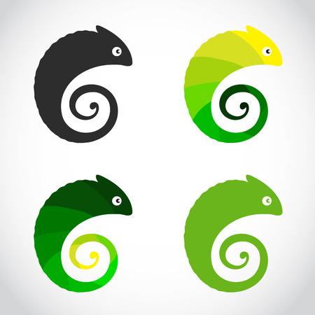 Vector group of chameleon on white background