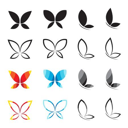 Grupo de vector de mariposa en el fondo blanco. Ilustración de vector