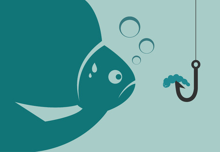 Large fish looking at a worm attached to the hook. Vector illustration. Vector