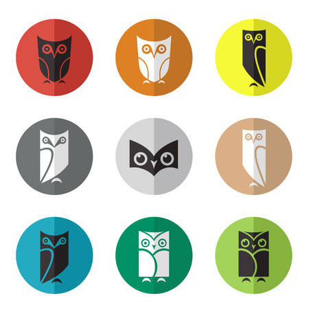 Vector group of owl in the circle on white background Vector