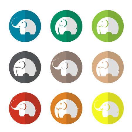 Vector group of elephant in the circle on white background Vector