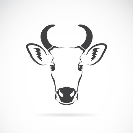 cow silhouette: Vector image of an cow head on white background