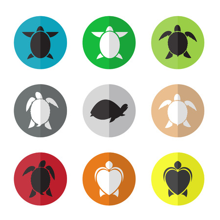 Vector group of turtle in the circle on white background Vector