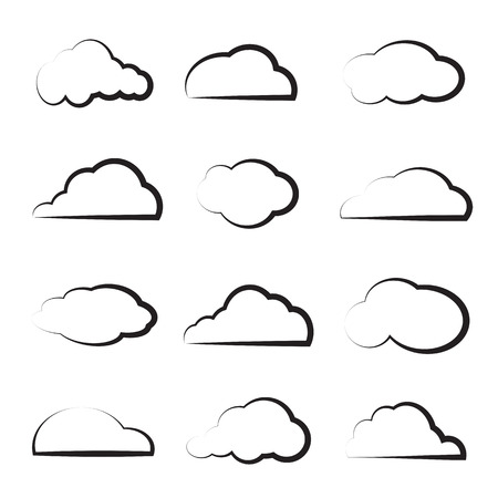 group of clouds on white background Vector