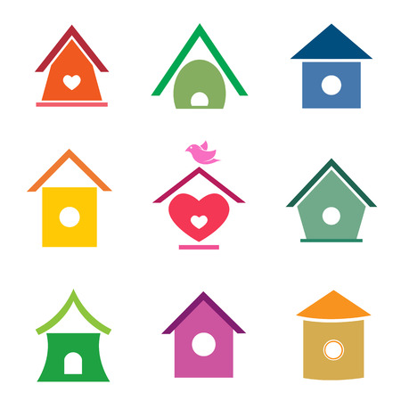 group of bird houses on white background. Vector