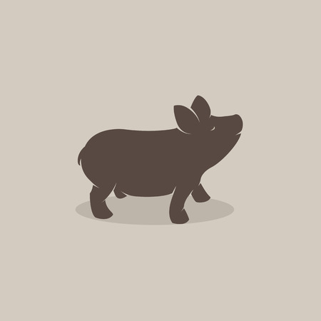 Vector image of an pig on brownish background Vector