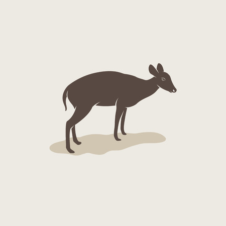 brownish: Vector image of an barking deer on brownish background