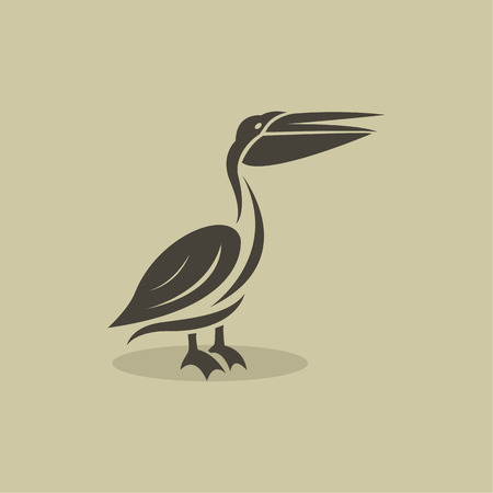 Vector image of an billed stork on brownish background Illustration