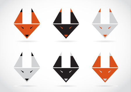 tattoo face: Vector fox face icons set on white background