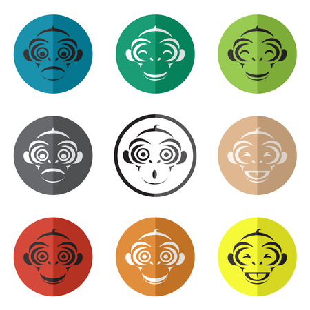 Vector group of monkey face in the circle on white background Vector