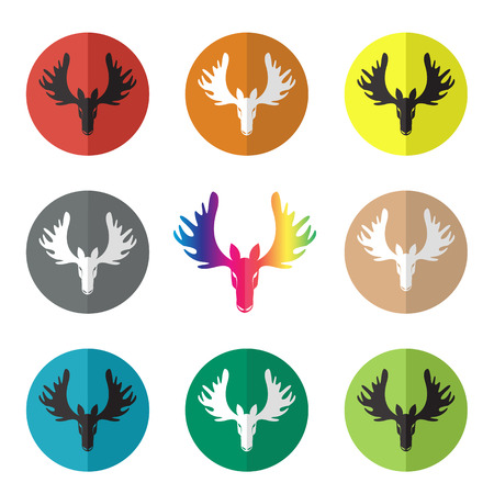 moose symbol: Vector group of deer head in the circle on white background Illustration