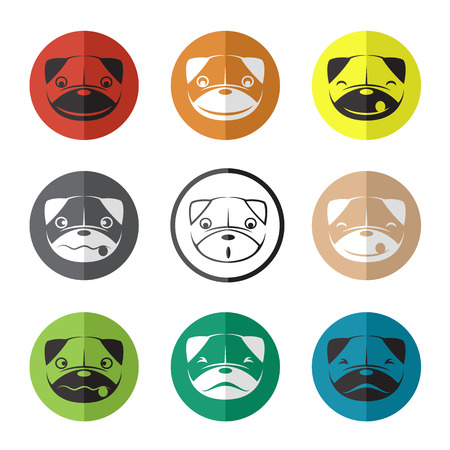Vector group of dog face in the circle on white background Vector
