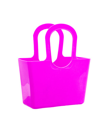 Pink plastic bag isolated on white background. photo