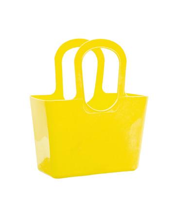 Yellow plastic bag isolated on white background. photo